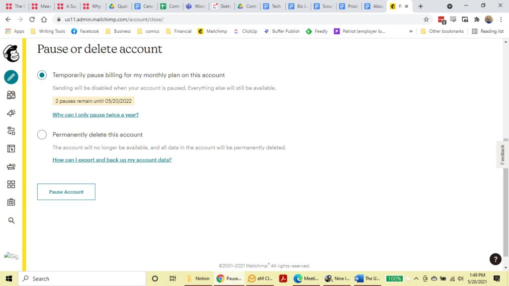Mailchimp cancellation page